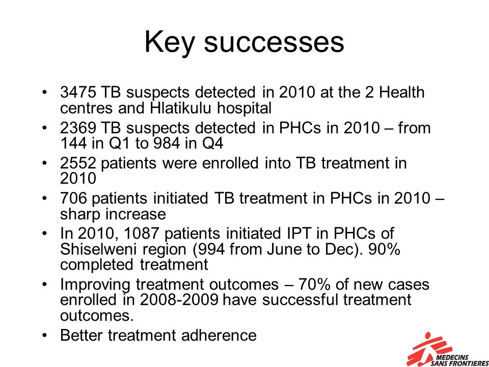 Key successes 3475 TB suspects detected in 2010 at the 2 Health centres and Hlatikulu hospital 2369 TB suspects detected in PHCs in 2010 – from 144 in Q1 to 984 in Q4 2552 patients were enrolled into TB treatment in 2010 706 patients initiated TB treatment in PHCs in 2010 – sharp increase In 2010, 1087 patients initiated IPT in PHCs of Shiselweni region (994 from June to Dec).