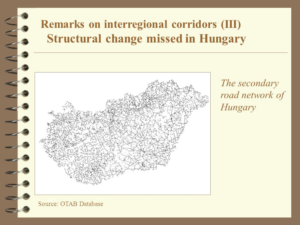 Source: OTAB Database Remarks on interregional corridors (III) Structural change missed in Hungary The secondary road network of Hungary
