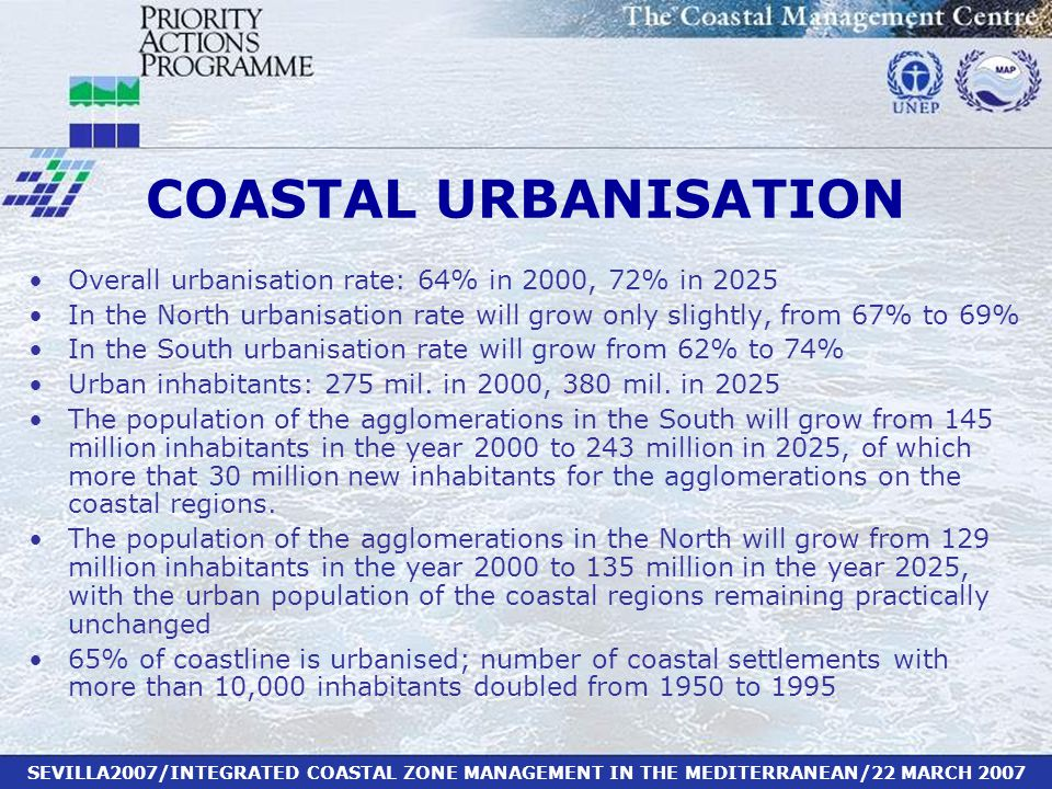 SEVILLA2007/INTEGRATED COASTAL ZONE MANAGEMENT IN THE MEDITERRANEAN/22 MARCH 2007 COASTAL URBANISATION Overall urbanisation rate: 64% in 2000, 72% in 2025 In the North urbanisation rate will grow only slightly, from 67% to 69% In the South urbanisation rate will grow from 62% to 74% Urban inhabitants: 275 mil.