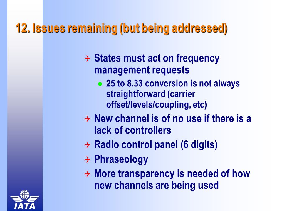 12. Issues remaining (but being addressed)  States must act on frequency management requests 25 to 8.33 conversion is not always straightforward (car
