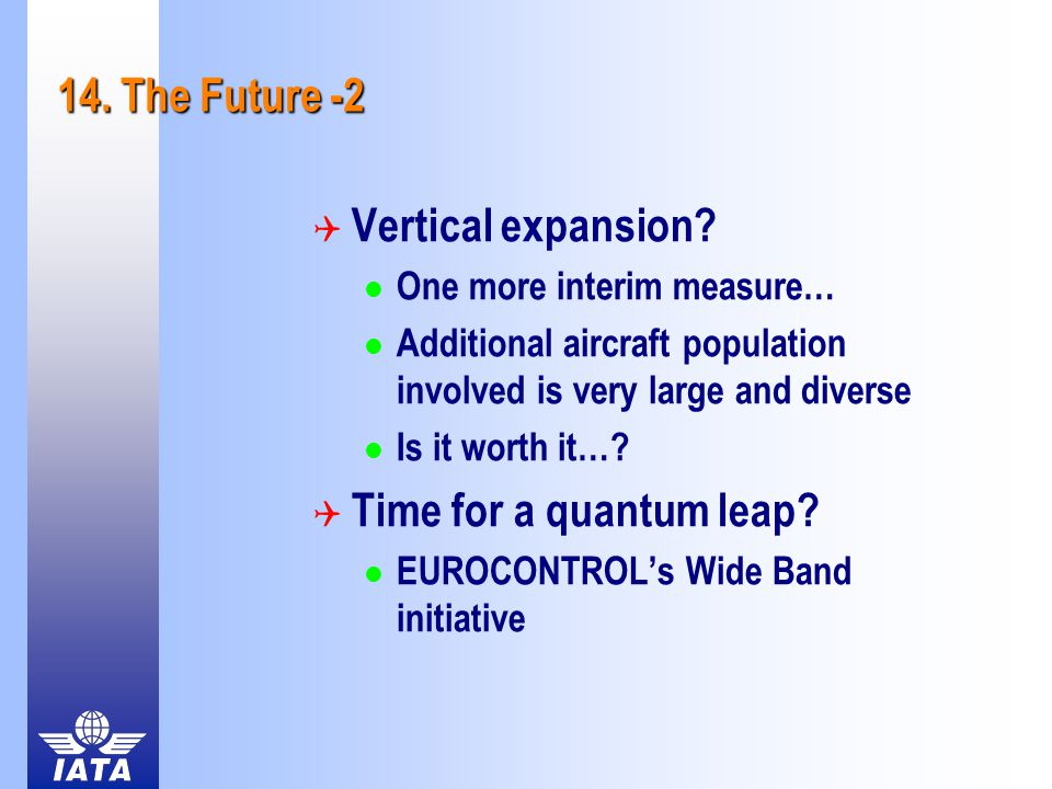 14. The Future -2  Vertical expansion? One more interim measure… Additional aircraft population involved is very large and diverse Is it worth it…? 
