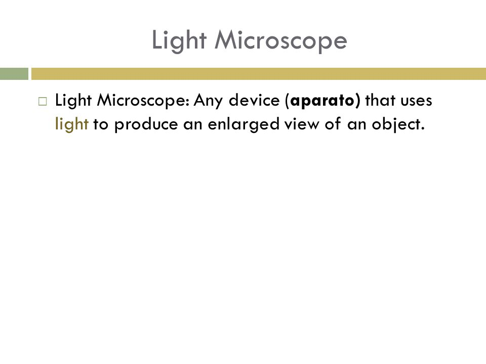Light Microscope  Light Microscope: Any device (aparato) that uses light to produce an enlarged view of an object.