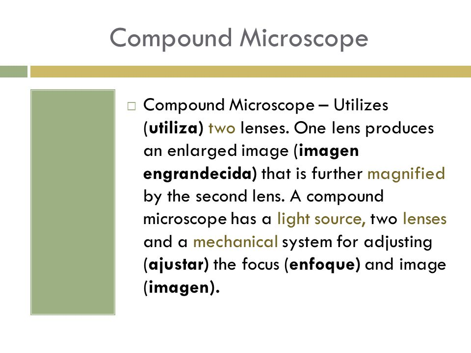 Compound Microscope  Compound Microscope – Utilizes (utiliza) two lenses. One lens produces an enlarged image (imagen engrandecida) that is further m