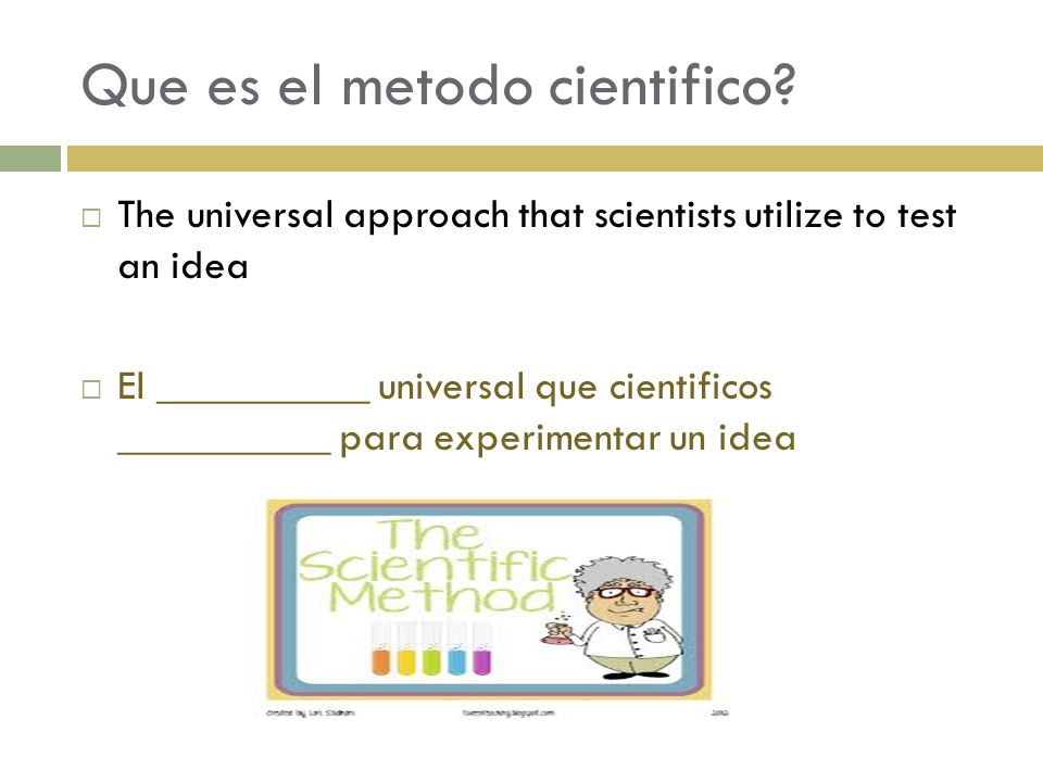 Que es el metodo cientifico?  The universal approach that scientists utilize to test an idea  El __________ universal que cientificos __________ par
