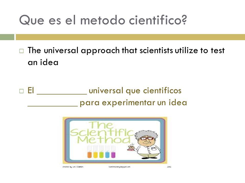 Cuales son los pasos del metodo cientifico.