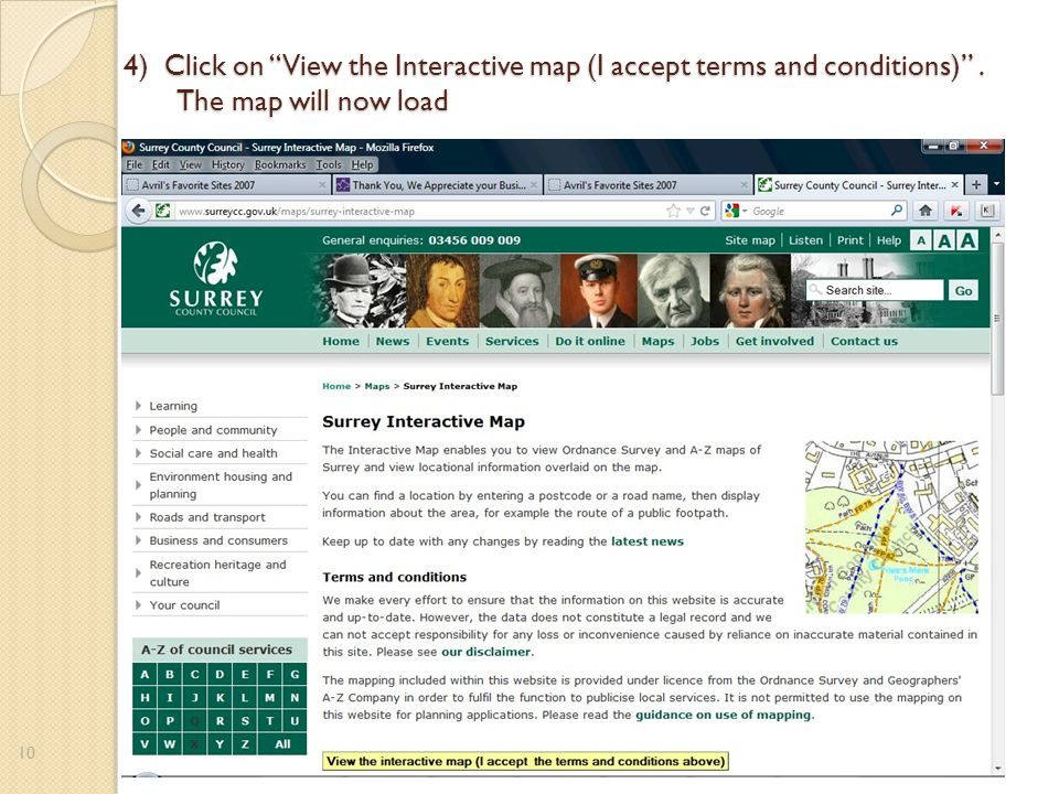4) Click on View the Interactive map (I accept terms and conditions) . The map will now load 10