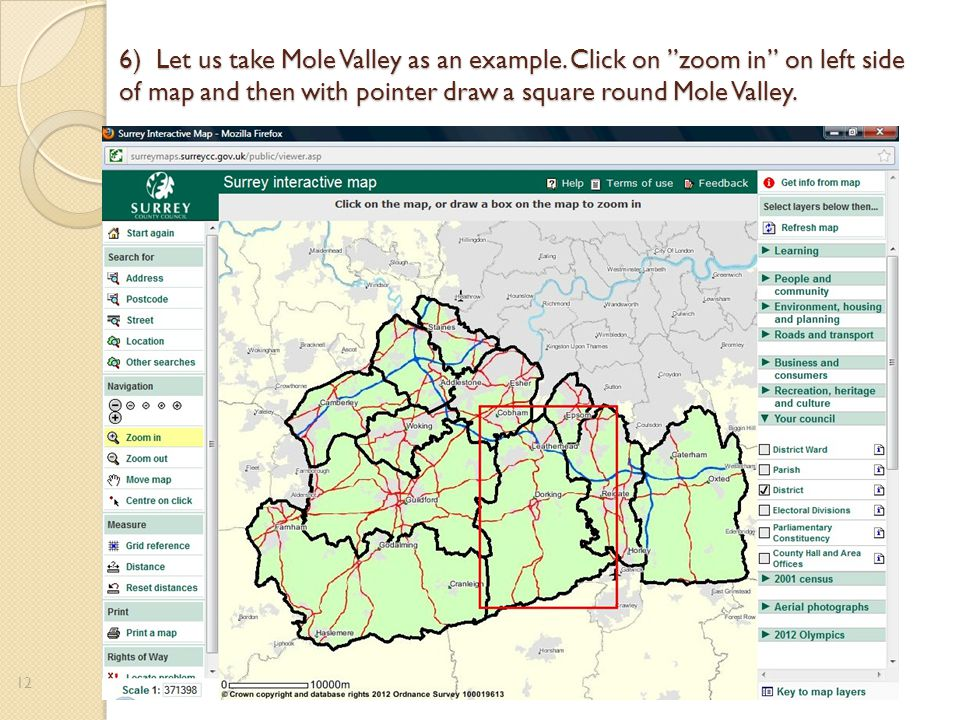 6) Let us take Mole Valley as an example.