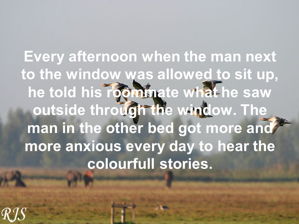 Every afternoon when the man next to the window was allowed to sit up, he told his roommate what he saw outside through the window.