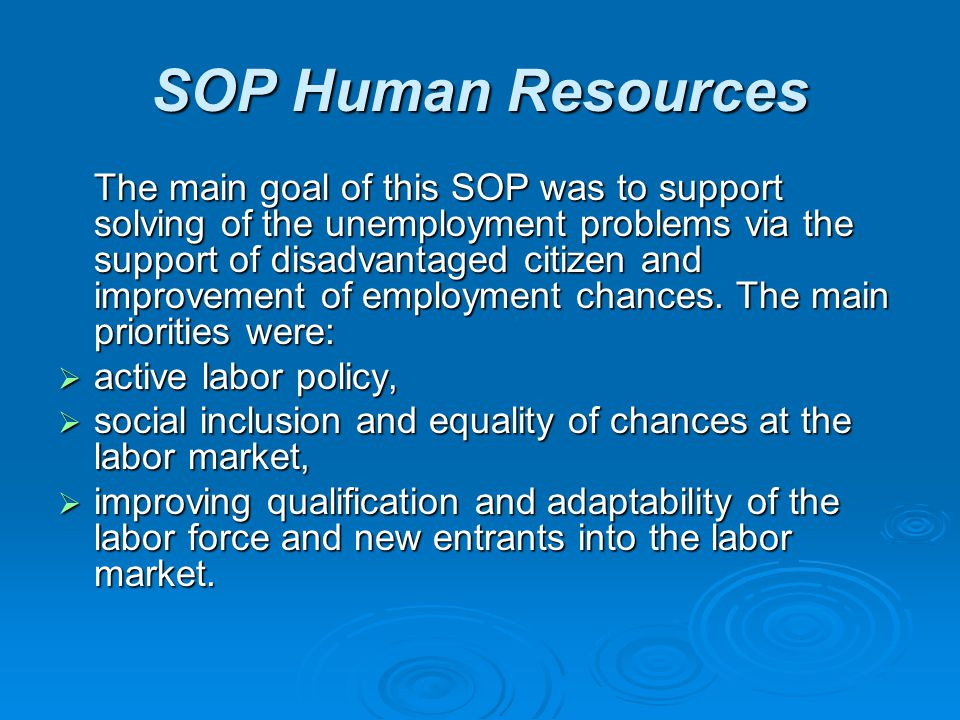 SOP Human Resources The main goal of this SOP was to support solving of the unemployment problems via the support of disadvantaged citizen and improve