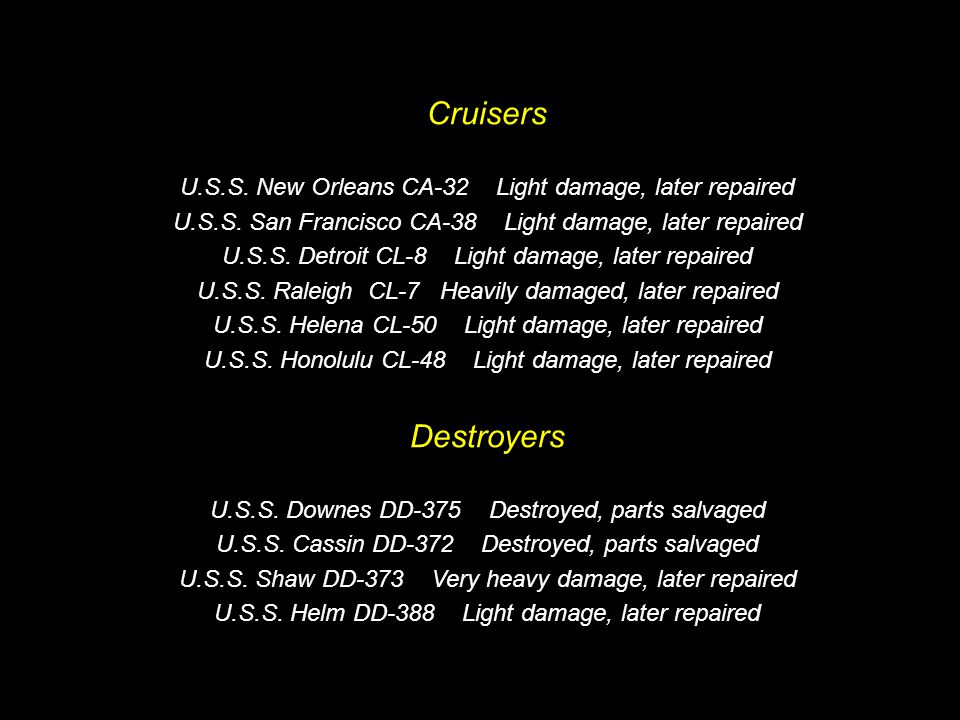 Damage Statistics Battleships U.S.S. Arizona BB-39 Total loss when a bomb hit her magazine U.S.S.