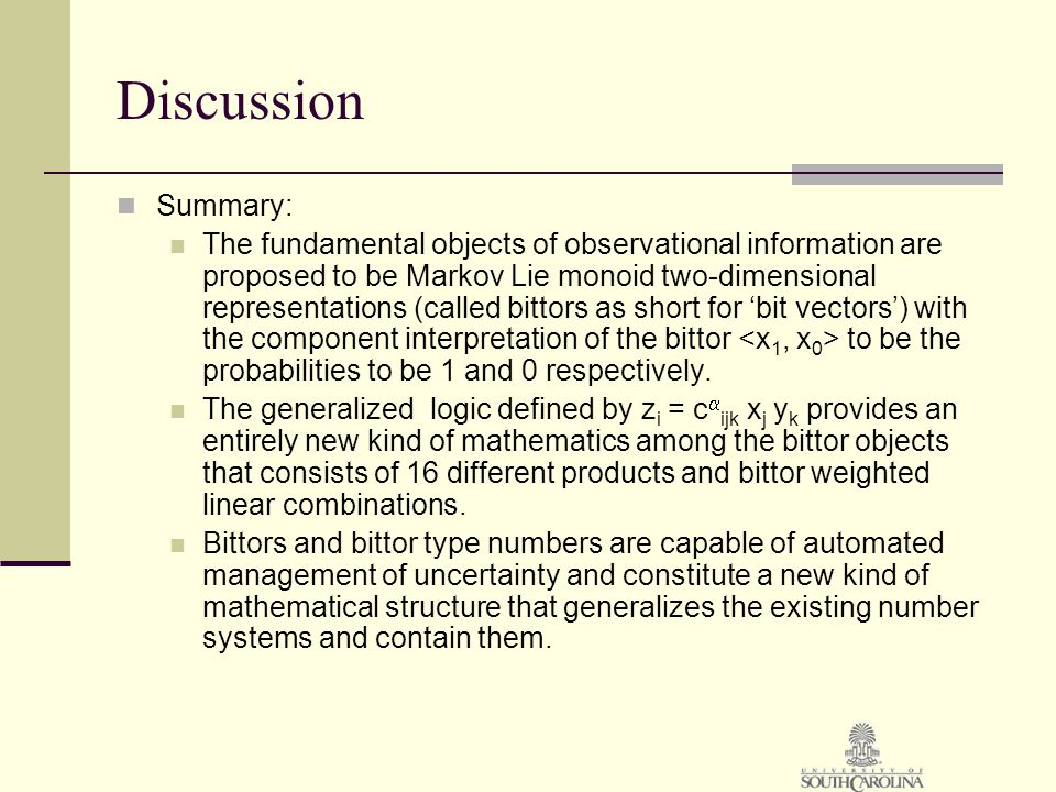 Discussion Summary: The fundamental objects of observational information are proposed to be Markov Lie monoid two-dimensional representations (called