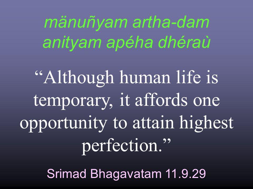mänuñyam artha-dam anityam apéha dhéraù Srimad Bhagavatam 11.9.29 Although human life is temporary, it affords one opportunity to attain highest perfection.