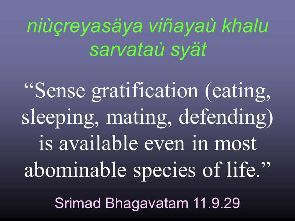 niùçreyasäya viñayaù khalu sarvataù syät Srimad Bhagavatam 11.9.29 Sense gratification (eating, sleeping, mating, defending) is available even in most abominable species of life.