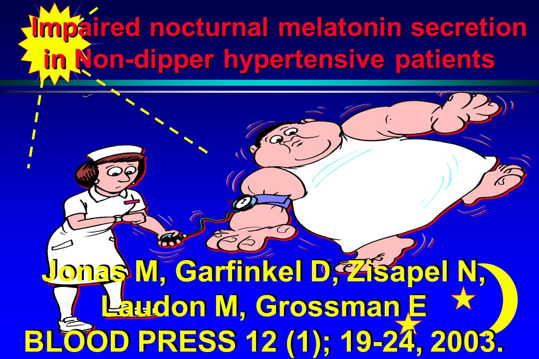 Impaired nocturnal melatonin secretion in Non-dipper hypertensive patients Jonas M, Garfinkel D, Zisapel N, Laudon M, Grossman E BLOOD PRESS 12 (1); 19-24, 2003.