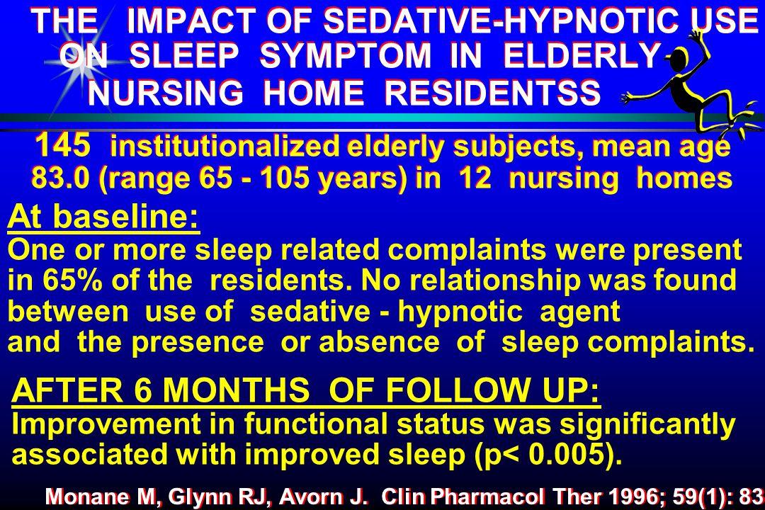 THE IMPACT OF SEDATIVE-HYPNOTIC USE ON SLEEP SYMPTOM IN ELDERLY NURSING HOME RESIDENTSS Monane M, Glynn RJ, Avorn J.