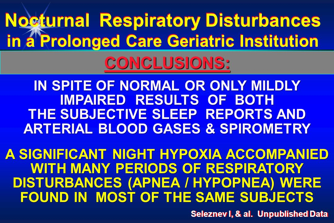 CONCLUSIONS: IN SPITE OF NORMAL OR ONLY MILDLY IMPAIRED RESULTS OF BOTH THE SUBJECTIVE SLEEP REPORTS AND ARTERIAL BLOOD GASES & SPIROMETRY Nocturnal Respiratory Disturbances in a Prolonged Care Geriatric Institution A SIGNIFICANT NIGHT HYPOXIA ACCOMPANIED WITH MANY PERIODS OF RESPIRATORY DISTURBANCES (APNEA / HYPOPNEA) WERE FOUND IN MOST OF THE SAME SUBJECTS Seleznev I, & al.