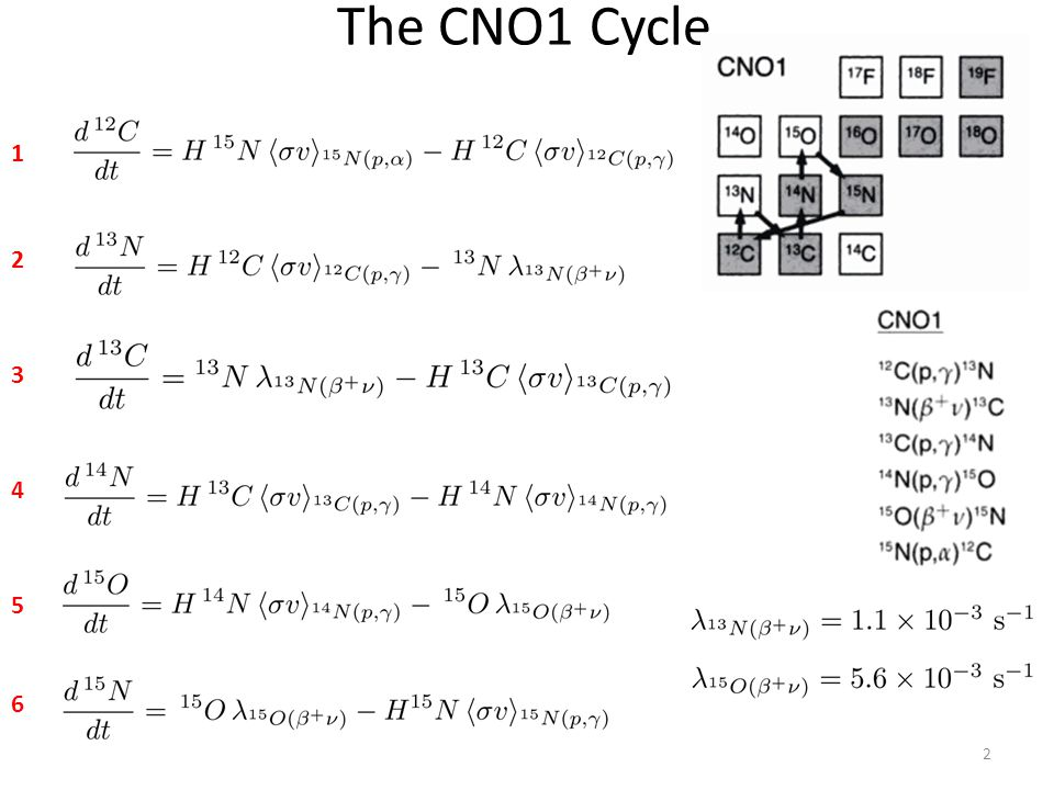 The CNO1 Cycle 2 1 2 3 5 4 6