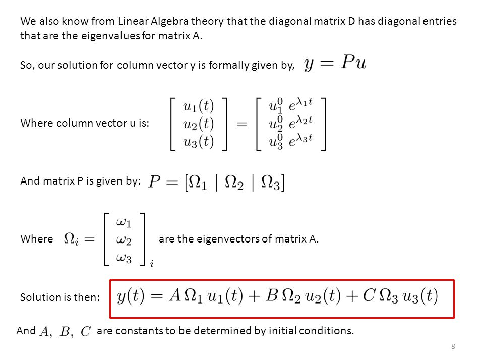 8 We also know from Linear Algebra theory that the diagonal matrix D has diagonal entries that are the eigenvalues for matrix A.