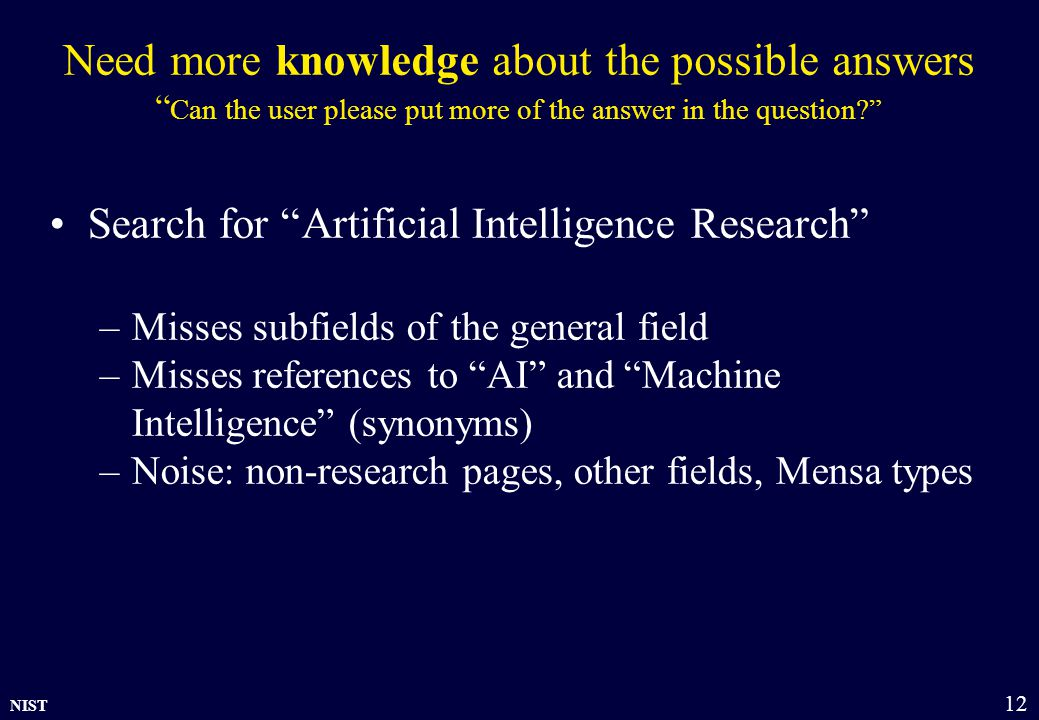 NIST 12 Need more knowledge about the possible answers Can the user please put more of the answer in the question? Search for Artificial Intelligence Research –Misses subfields of the general field –Misses references to AI and Machine Intelligence (synonyms) –Noise: non-research pages, other fields, Mensa types
