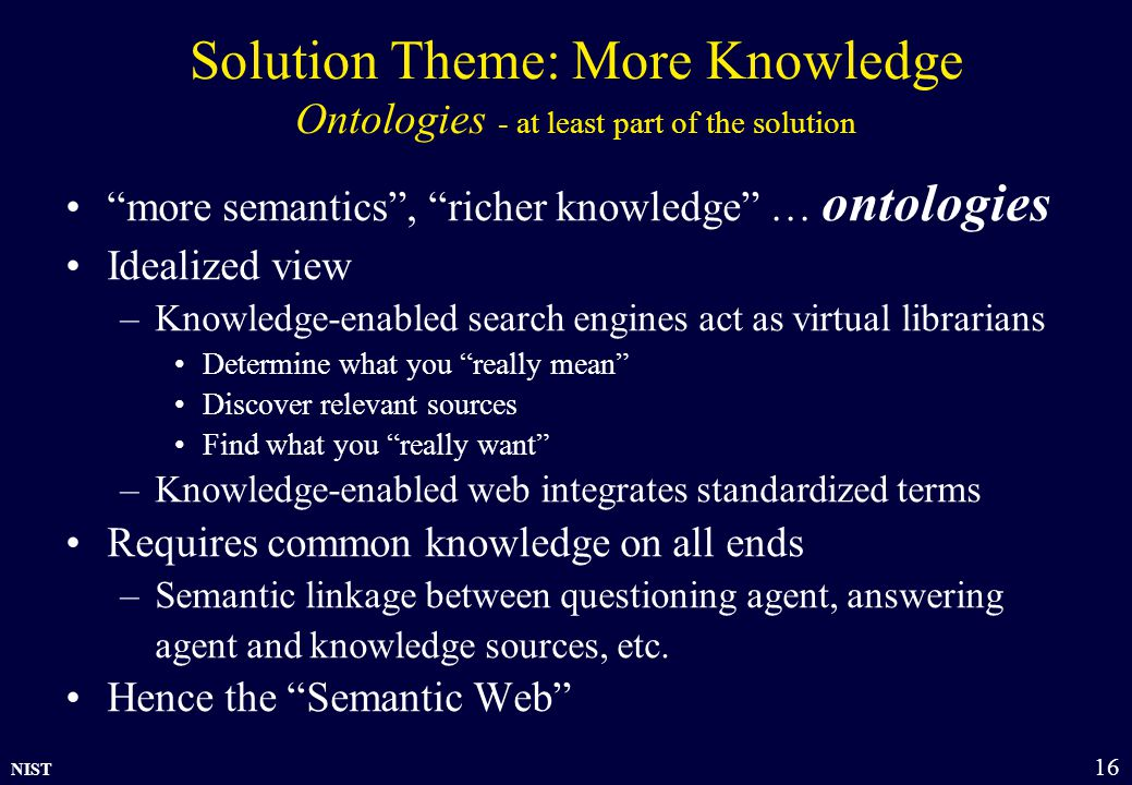 """NIST 16 Solution Theme: More Knowledge Ontologies - at least part of the solution """"more semantics"""", """"richer knowledge"""" … ontologies Idealized view –Kn"""