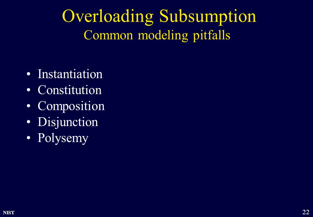 NIST 22 Overloading Subsumption Common modeling pitfalls Instantiation Constitution Composition Disjunction Polysemy