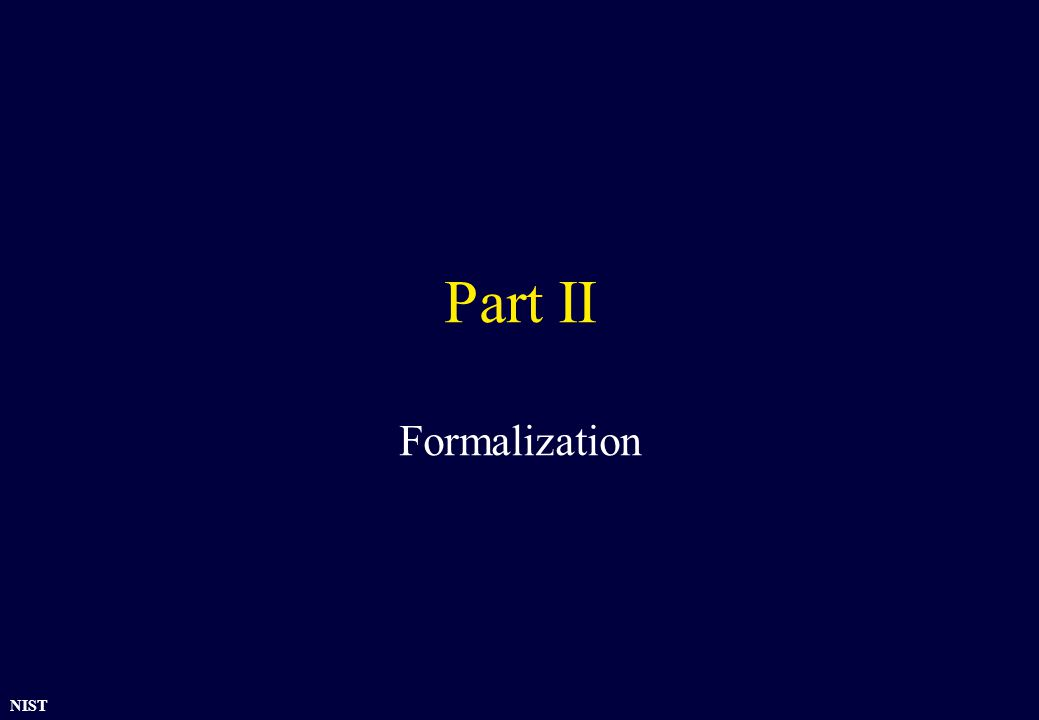 NIST Part II Formalization