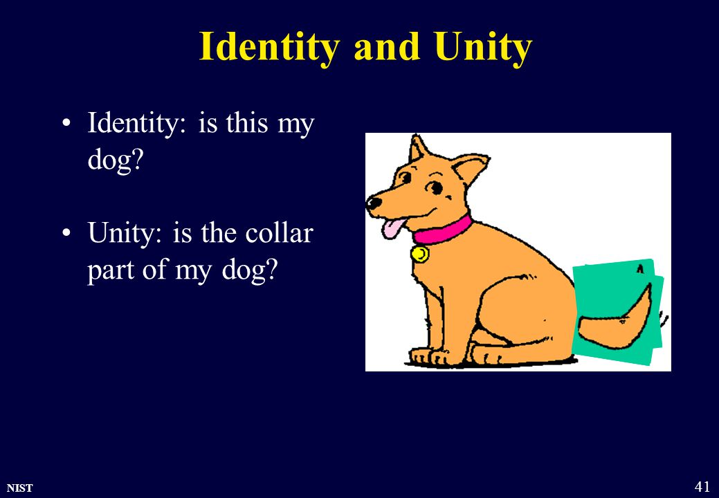 NIST 41 Identity and Unity Identity: is this my dog? Unity: is the collar part of my dog?