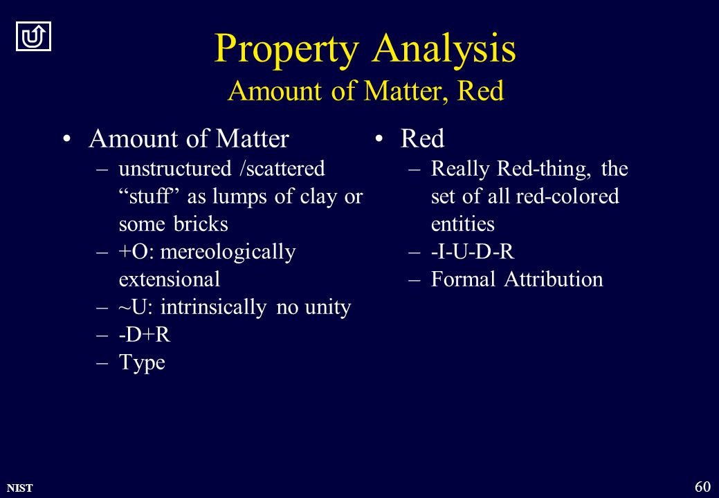 NIST 60 Property Analysis Amount of Matter, Red Amount of Matter –unstructured /scattered stuff as lumps of clay or some bricks –+O: mereologically extensional –~U: intrinsically no unity –-D+R –Type Red –Really Red-thing, the set of all red-colored entities –-I-U-D-R –Formal Attribution