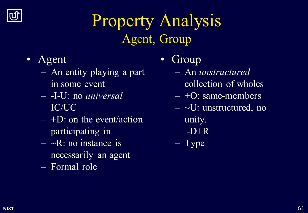 NIST 61 Property Analysis Agent, Group Agent –An entity playing a part in some event –-I-U: no universal IC/UC –+D: on the event/action participating