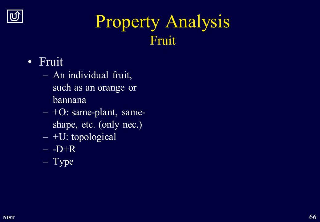 NIST 66 Property Analysis Fruit Fruit –An individual fruit, such as an orange or bannana –+O: same-plant, same- shape, etc. (only nec.) –+U: topologic