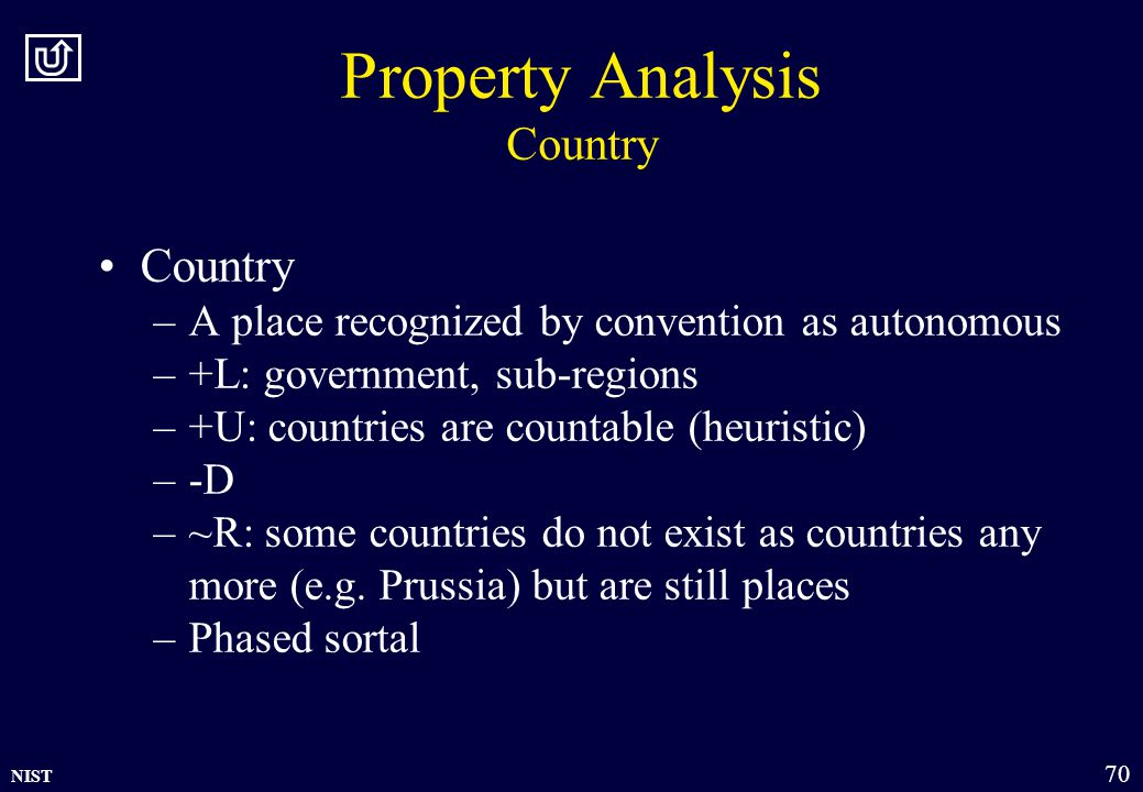 NIST 70 Property Analysis Country Country –A place recognized by convention as autonomous –+L: government, sub-regions –+U: countries are countable (heuristic) –-D –~R: some countries do not exist as countries any more (e.g.