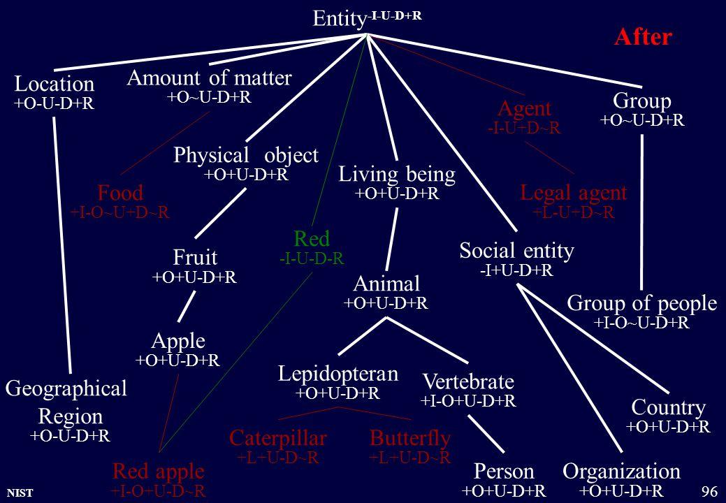 NIST 96 Entity -I-U-D+R Physical object +O+U-D+R Amount of matter +O~U-D+R Group +O~U-D+R Organization +O+U-D+R Location +O-U-D+R Living being +O+U-D+
