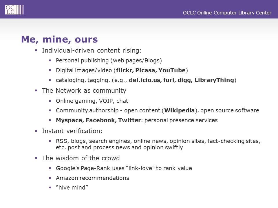 OCLC Online Computer Library Center Q625: Which of the following types of information have you ever supplied about yourself on social networking Web site(s).
