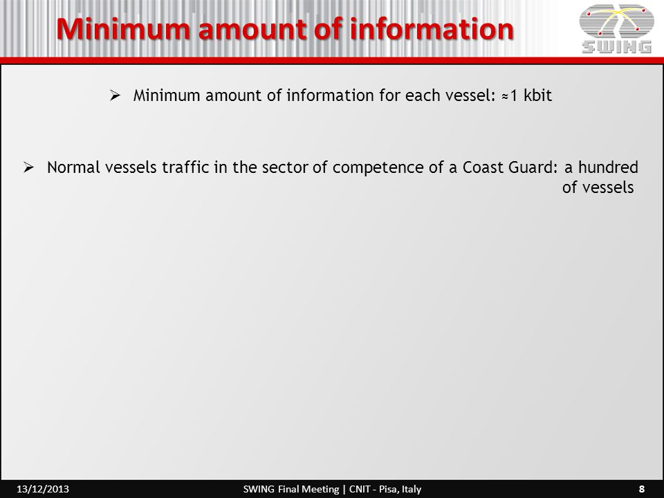 Minimum amount of information  Minimum amount of information for each vessel: ≈1 kbit  Normal vessels traffic in the sector of competence of a Coast