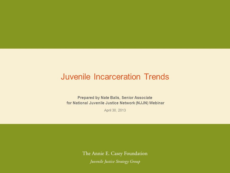 NO PLACE FOR KIDS Prepared by Nate Balis, Senior Associate for National Juvenile Justice Network (NJJN) Webinar April 30, 2013 Juvenile Incarceration Trends