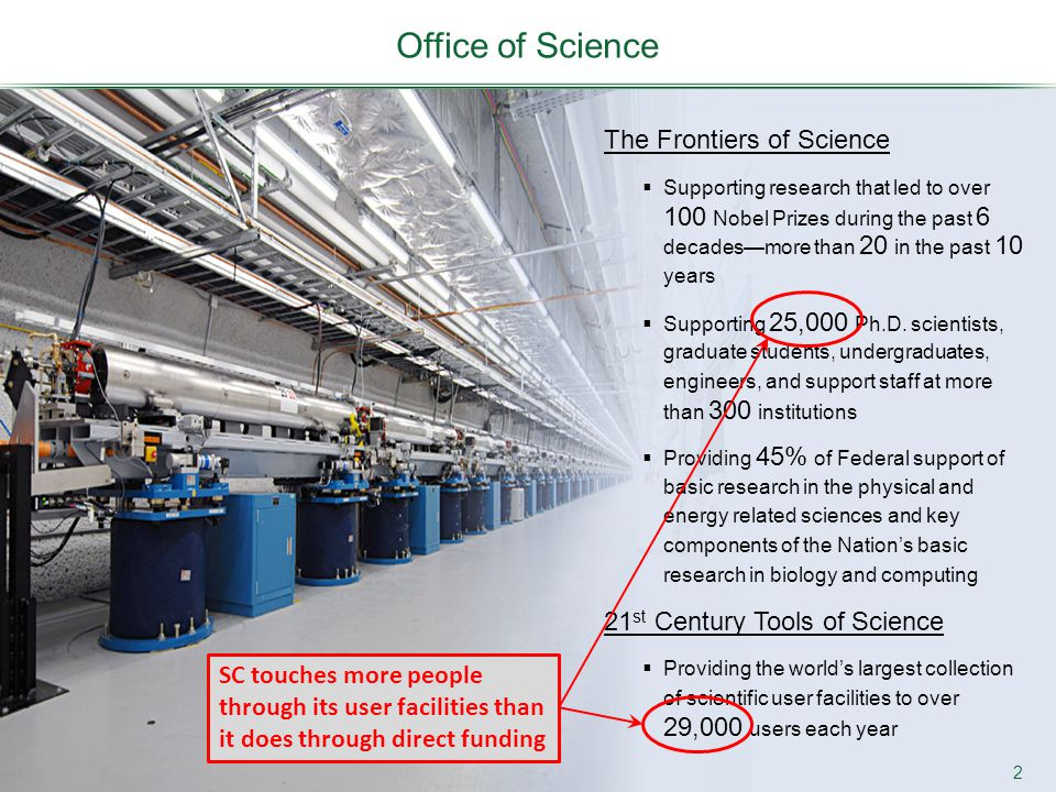 Office of Science 2 The Frontiers of Science  Supporting research that led to over 100 Nobel Prizes during the past 6 decades—more than 20 in the pas