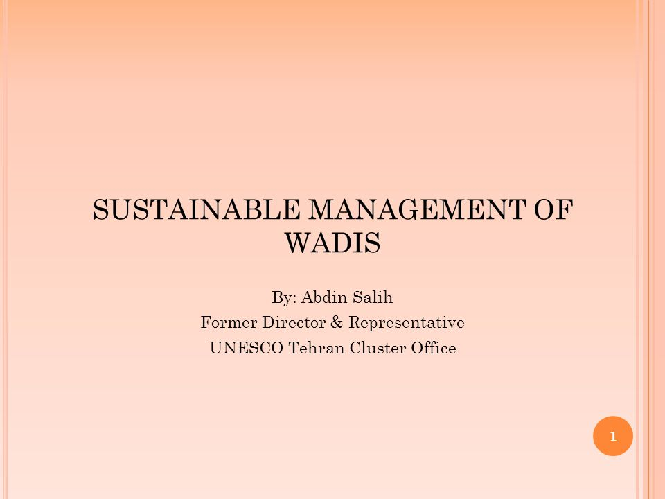 1 SUSTAINABLE MANAGEMENT OF WADIS By: Abdin Salih Former Director & Representative UNESCO Tehran Cluster Office