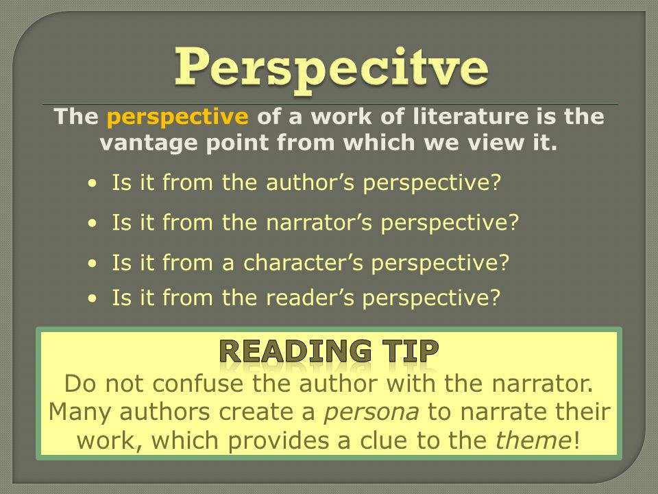 The perspective of a work of literature is the vantage point from which we view it.