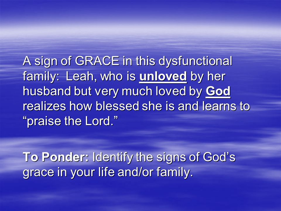 Jacob's name means SUPPLANTER. Jacob's new name Israel, indicates God PROTECTS, God PROVIDES. Forgiveness means that I am continually willing to forgive the other person for not fulfilling all my NEEDS and DESIRES.