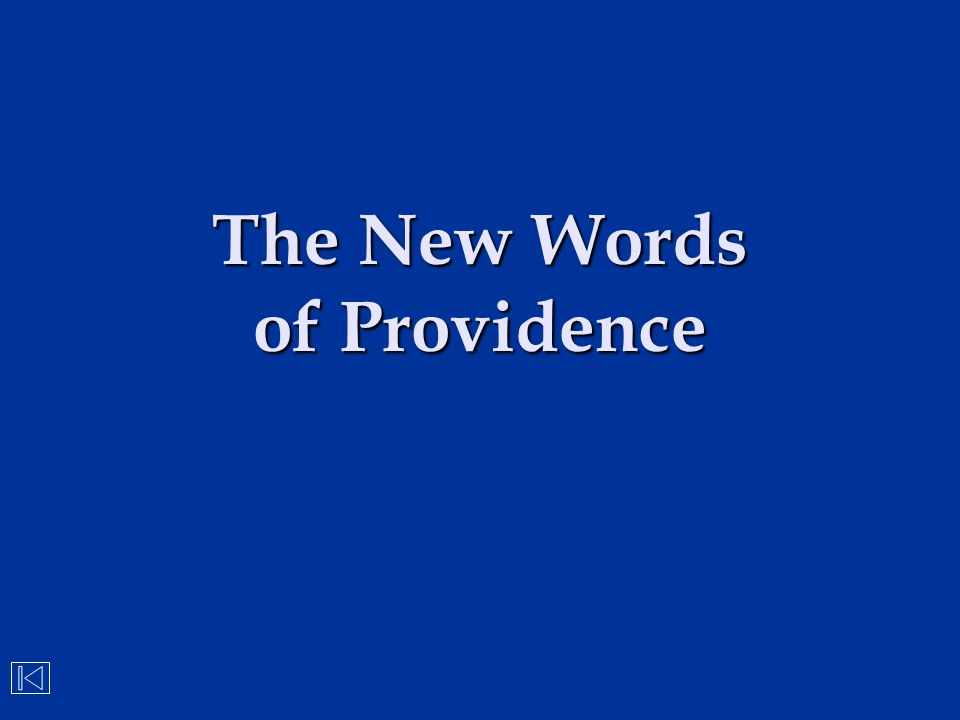 The New Words of Providence
