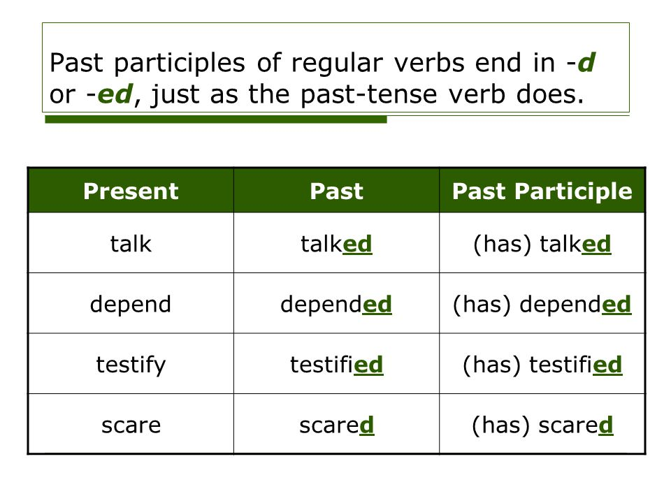 Past participles of regular verbs end in -d or -ed, just as the past-tense verb does. PresentPastPast Participle talktalked(has) talked dependdepended