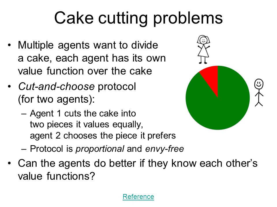 Cake cutting problems Multiple agents want to divide a cake, each agent has its own value function over the cake Cut-and-choose protocol (for two agen