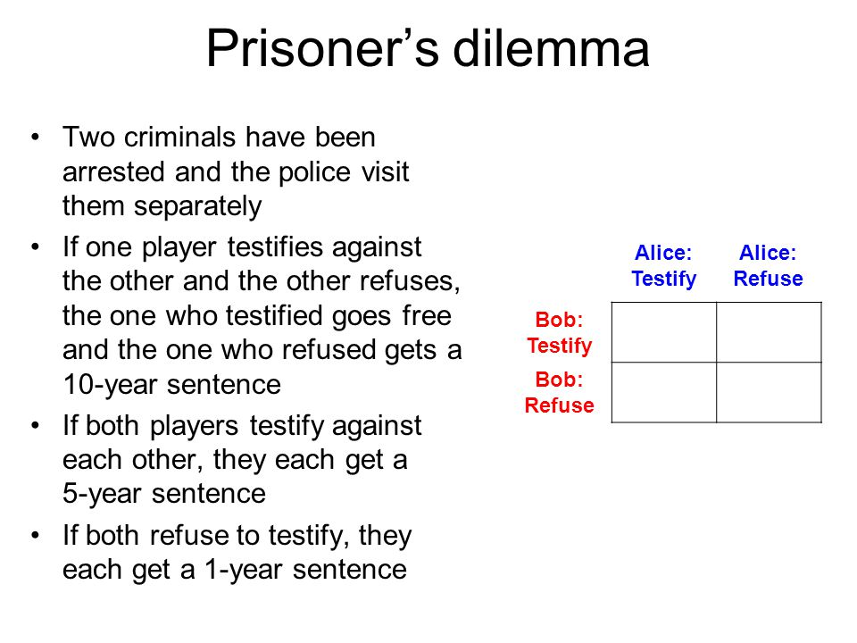 Prisoner's dilemma Two criminals have been arrested and the police visit them separately If one player testifies against the other and the other refus