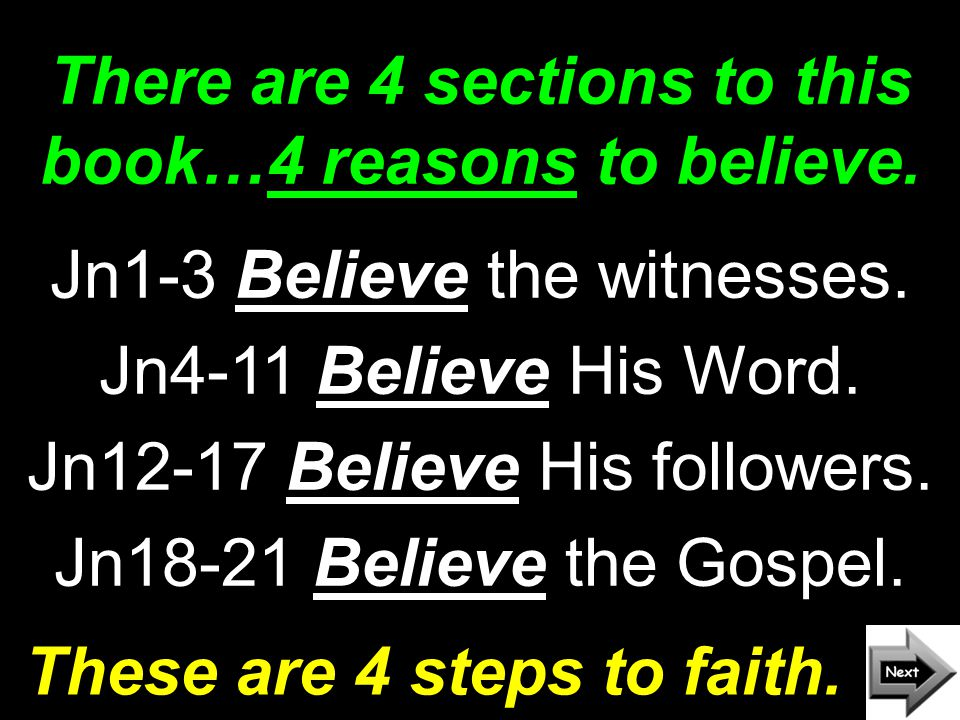There are 4 sections to this book…4 reasons to believe.