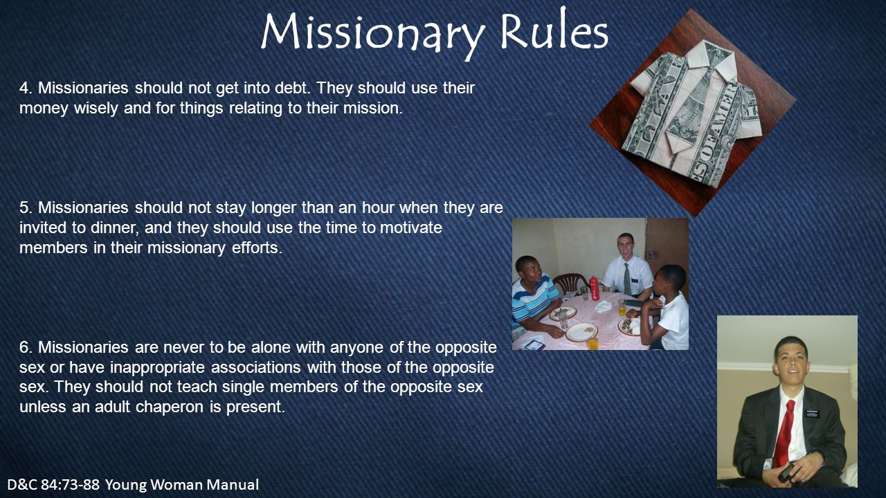 Missionary Rules D&C 84:73-88 Young Woman Manual 4.