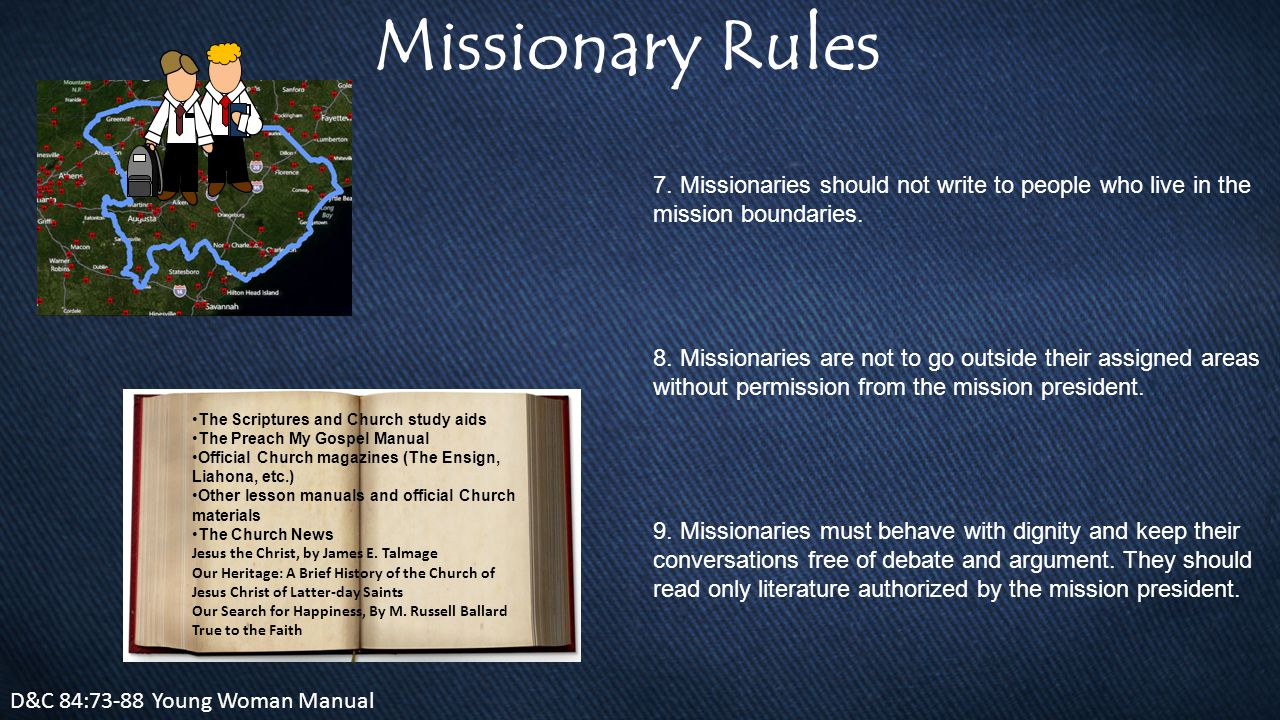 Missionary Rules D&C 84:73-88 Young Woman Manual 7.