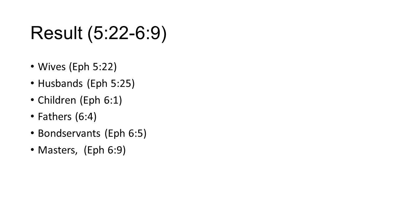 Result (5:22-6:9) Wives (Eph 5:22) Husbands (Eph 5:25) Children (Eph 6:1) Fathers (6:4) Bondservants (Eph 6:5) Masters, (Eph 6:9)