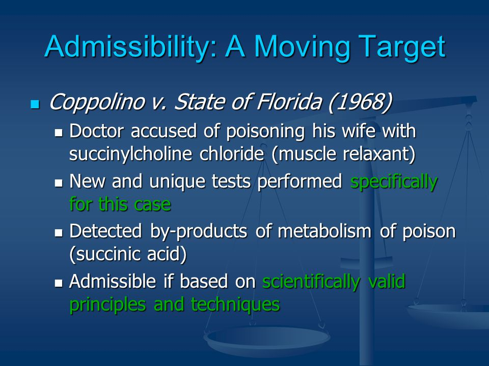 Admissibility: A Moving Target Coppolino v. State of Florida (1968) Coppolino v.