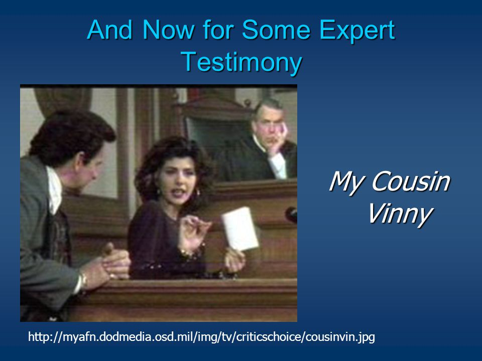 And Now for Some Expert Testimony My Cousin Vinny http://myafn.dodmedia.osd.mil/img/tv/criticschoice/cousinvin.jpg