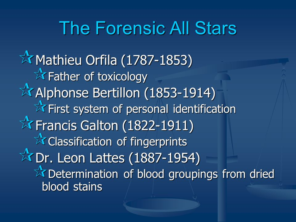 The Forensic All Stars  Mathieu Orfila (1787-1853)  Father of toxicology  Alphonse Bertillon (1853-1914)  First system of personal identification  Francis Galton (1822-1911)  Classification of fingerprints  Dr.